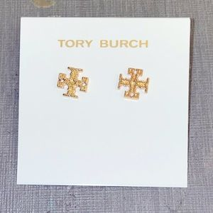 Tory Burch sparkly gold logo earrings